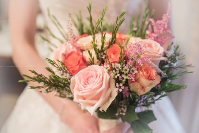 Detail of the bridal flower bouquet