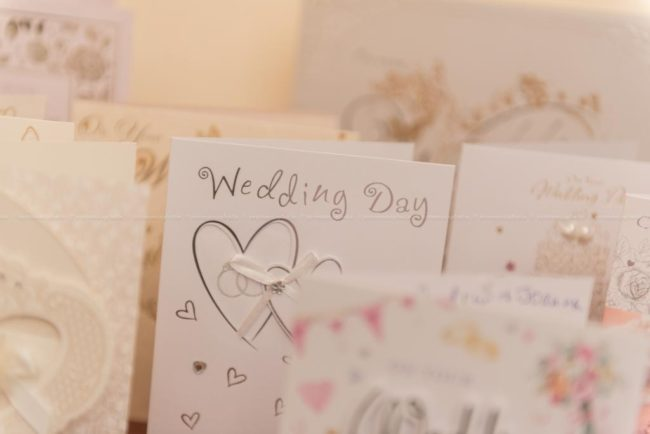 detail of cards received by bride and groom in occasion of their wedding day